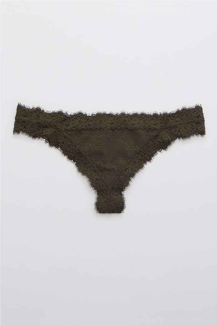Aerie Eyelash Lace Thong Underwear Χακί 0