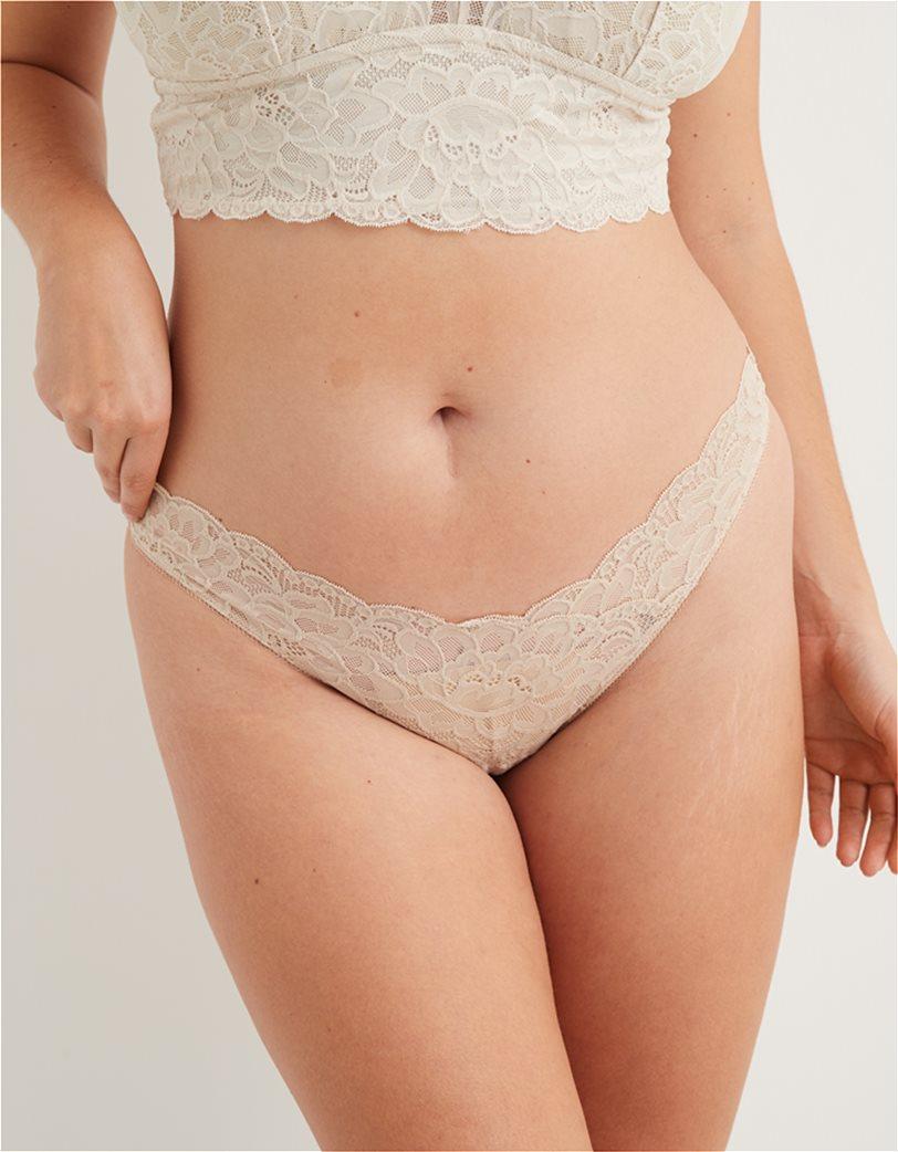 Aerie New Blooms Lace High Cut Thong Underwear Μπεζ 1
