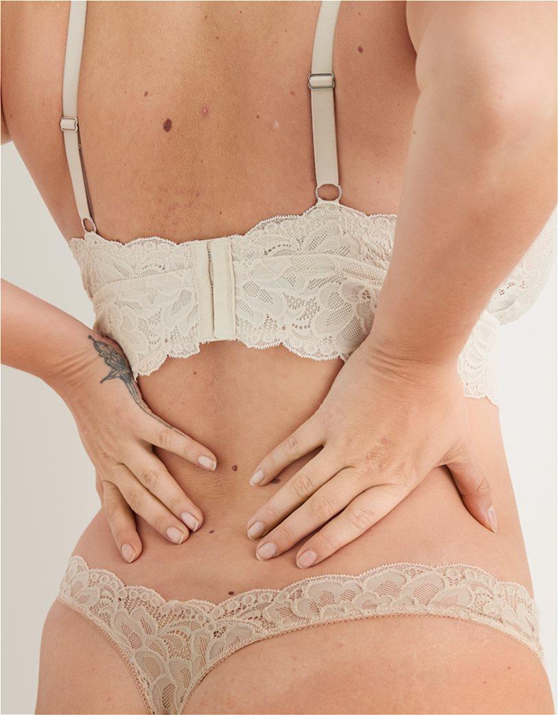 Aerie New Blooms Lace High Cut Thong Underwear Μπεζ 2