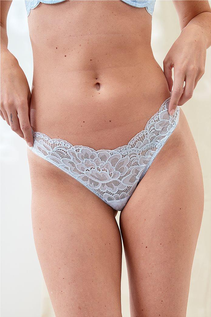 Aerie New Blooms Lace High Cut Thong Underwear Ανοιχτό Γαλάζιο 0