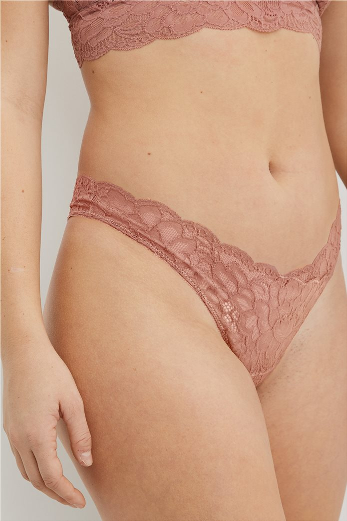 Aerie New Blooms Lace High Cut Thong Underwear Κεραμιδί 0