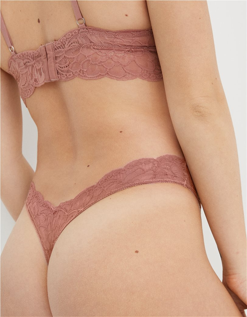 Aerie New Blooms Lace High Cut Thong Underwear Κεραμιδί 1