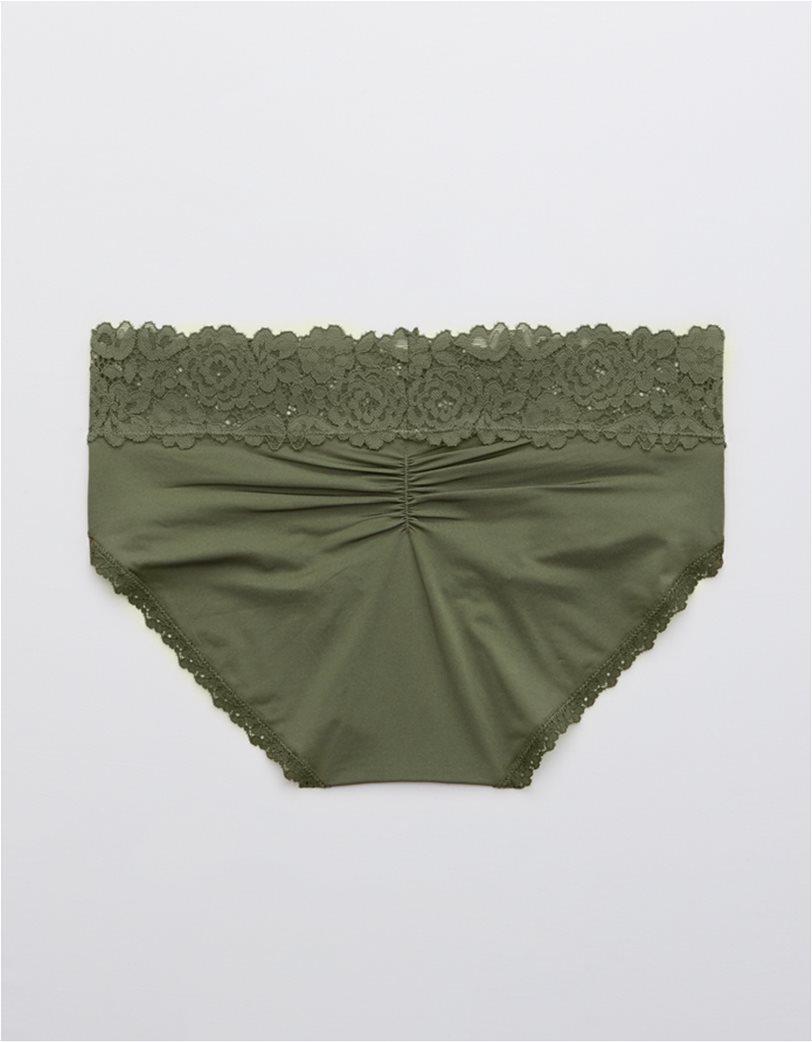 Aerie Bluegrass Lace Shine Boybrief Underwear Χακί 1