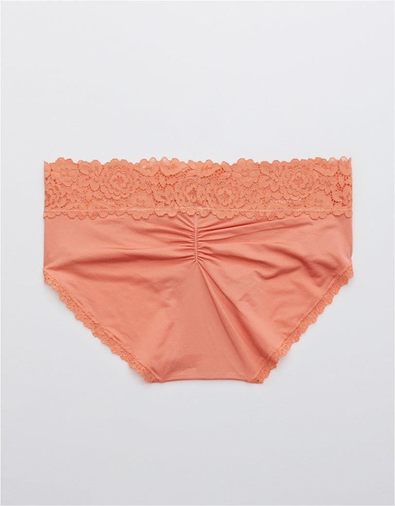 Aerie Bluegrass Lace Shine Boybrief Underwear Ροδακινί 1