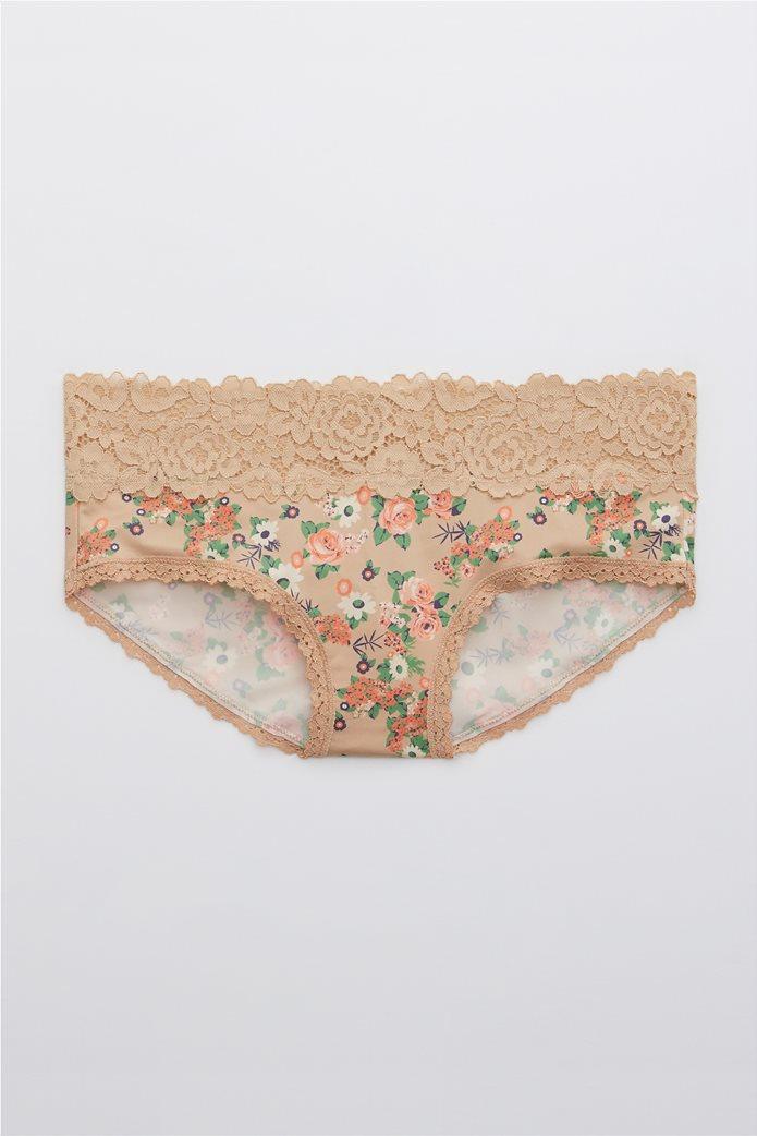 Aerie Bluegrass Lace Shine Boybrief Underwear 0