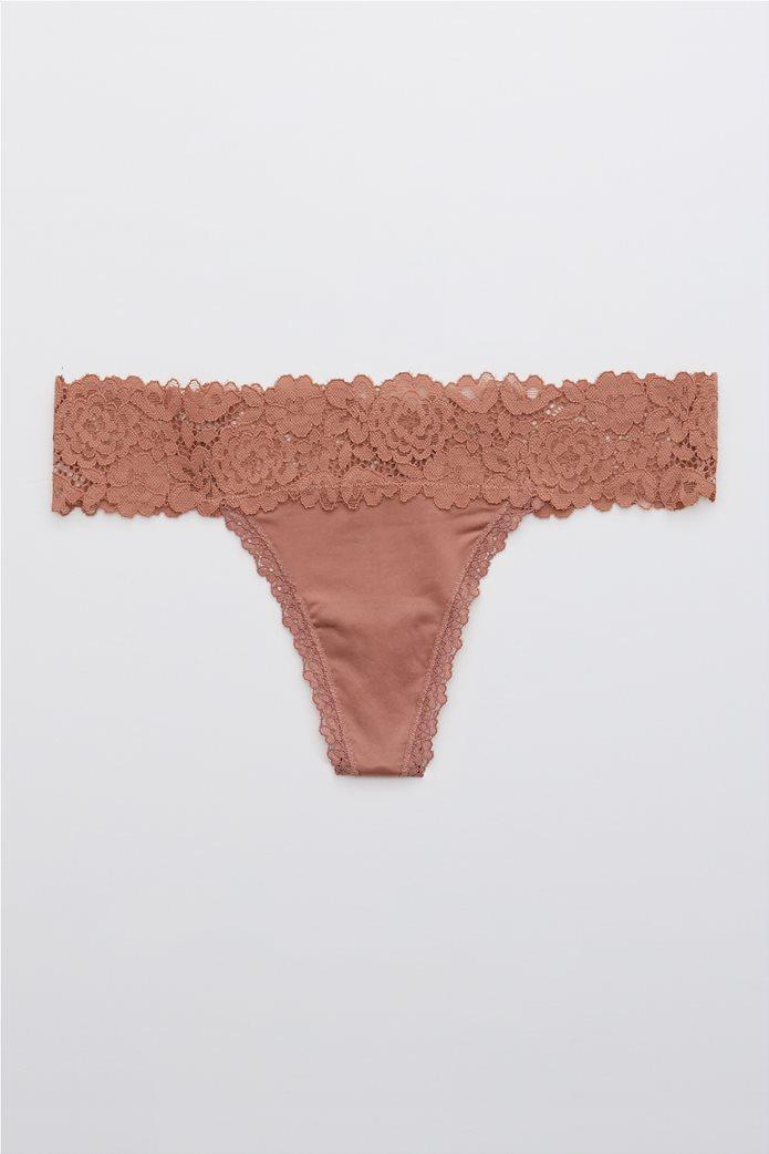 Aerie Shine Bluegrass Lace Thong Underwear Κεραμιδί 0
