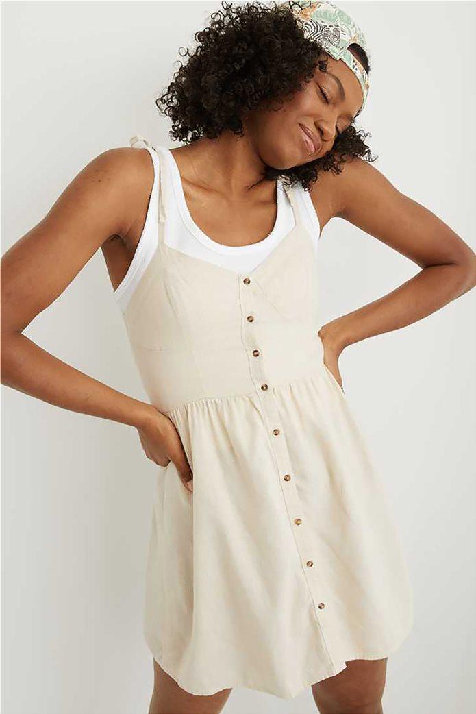 Aerie Linen Corset Dress Nude 0