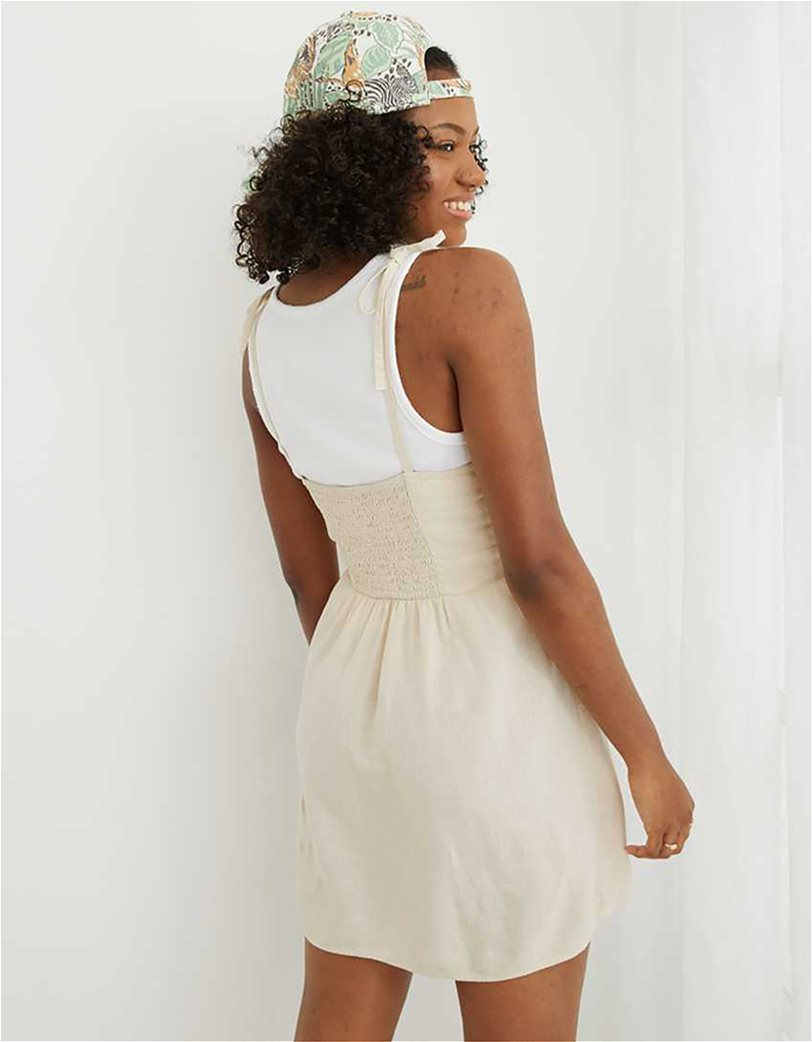Aerie Linen Corset Dress Nude 2