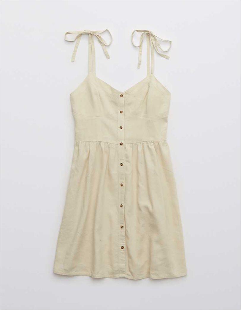 Aerie Linen Corset Dress Nude 3