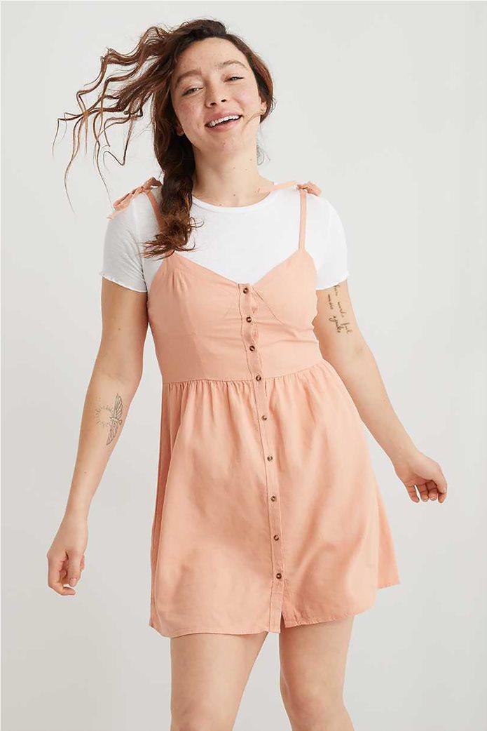 Aerie Linen Corset Dress Σομον 0
