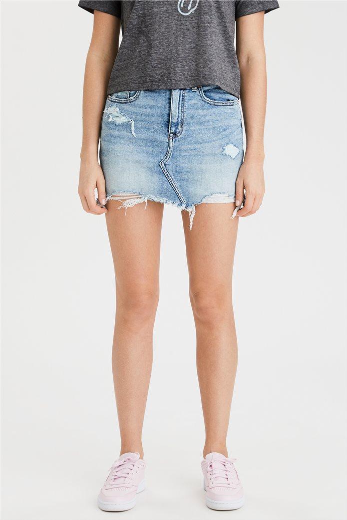 High-Waisted Denim Mini Skirt 0