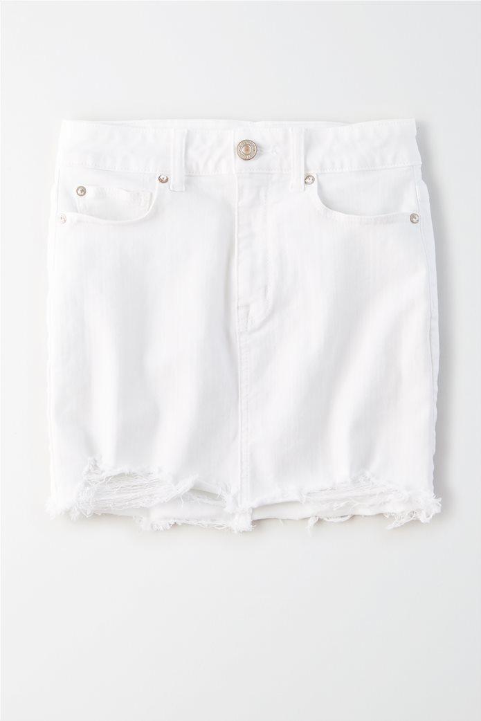 AE Ne(x)t Level High-Waisted Denim Mini Skirt Λευκό 0