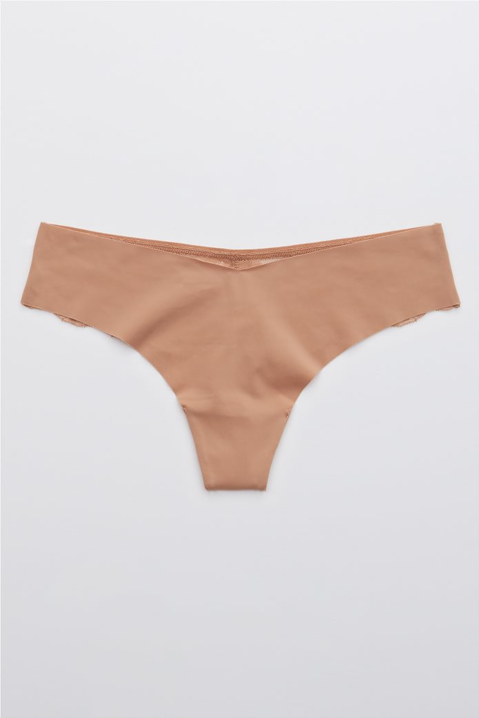 Aerie New Blooms Lace No Show Thong Underwear Ροζ 0