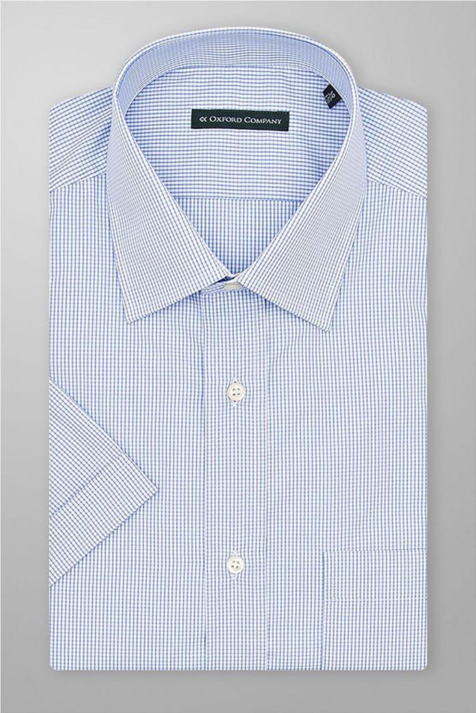 Oxford Company ανδρικό πουκάμισο με μικρό καρό Γαλάζιο 0