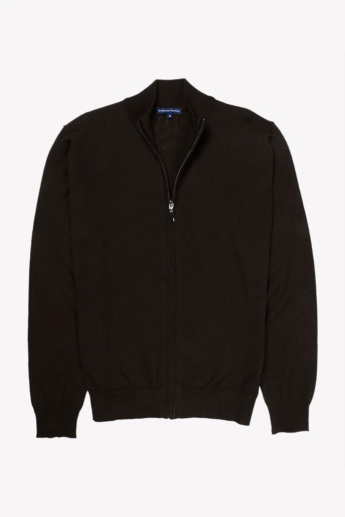 Oxford Company ανδρική πλεκτή ζακέτα Regular Fit Μαύρο 0