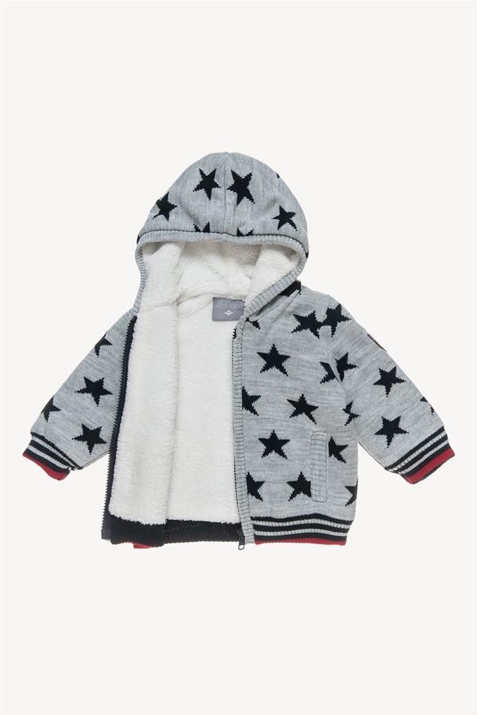 Alouette βρεφική πλεκτή ζακέτα με αστέρια και επένδυση από faux γούνα 1