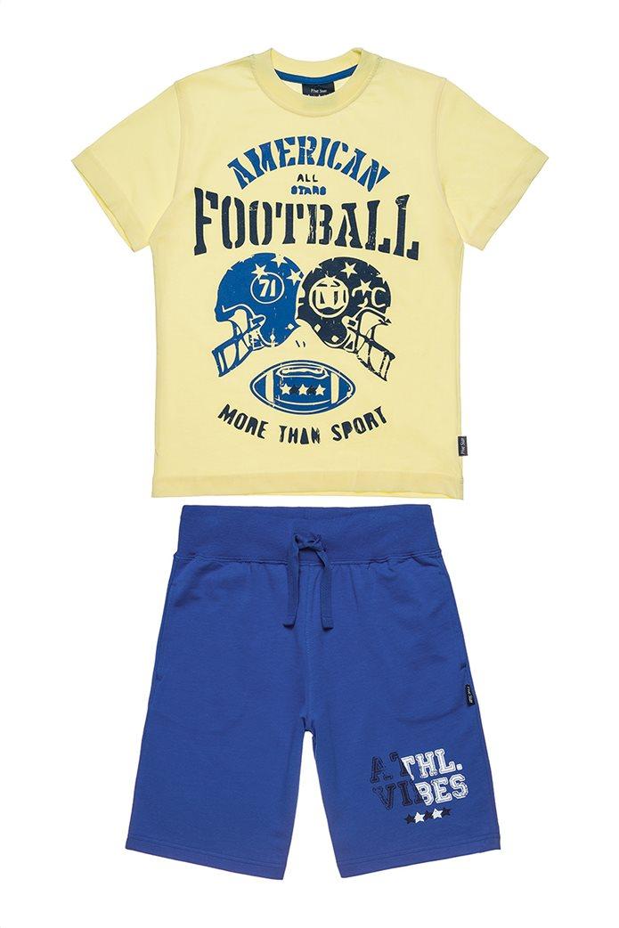430a4922297 ALOUETTE   Αlouette παιδικό σετ φόρμας μπλούζα με τύπωμα και βερμούδα Five  Star (6-16 ετών) Κίτρινο   notos