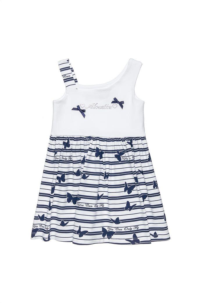 Alouette παιδικό φόρεμα αμάνικο με στρας και φιογκάκια (9 μηνών-5 ετών) 0