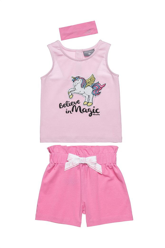 Alouette παιδικό σετ ρούχων αμάνικη μπλούζα με patch unicorn και σορτς (12 μηνών-5 ετών) 0