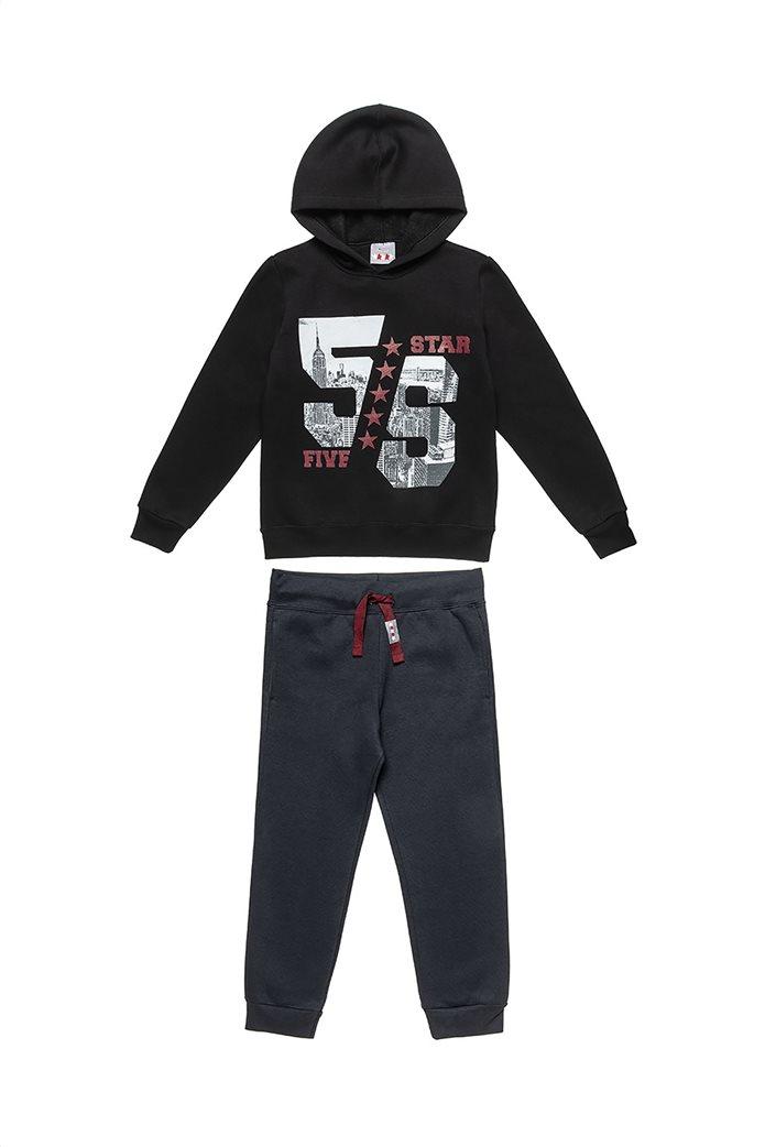 "Alouette παιδικό σετ ρούχων μπλούζα φούτερ με κουκουλα και παντελόνι ""Moovers"" (6-16 ετών) Μαύρο 0"
