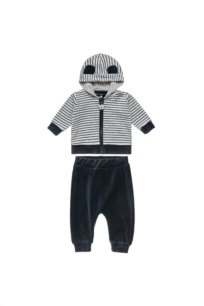Alouette βρεφικό σετ ρούχων βελουτέ ζακέτα με κουκούλα και παντελόνι (3-18 μηνών) 0