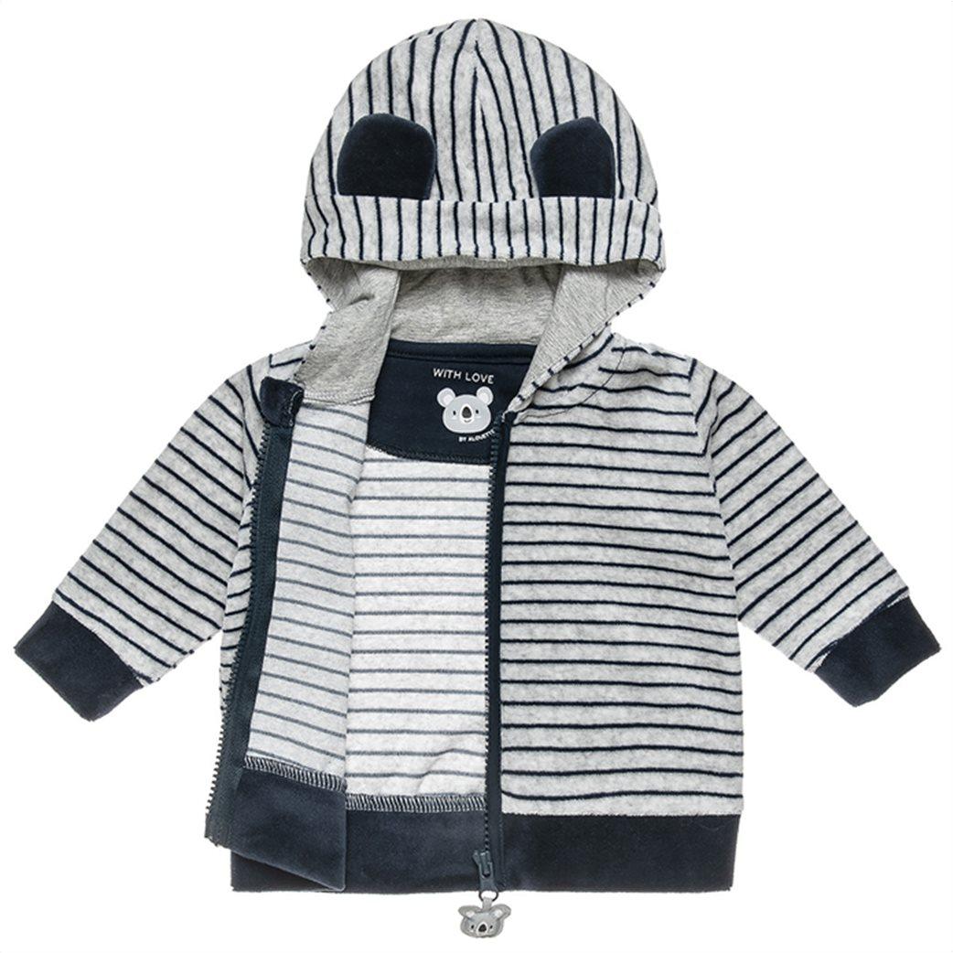 Alouette βρεφικό σετ ρούχων βελουτέ ζακέτα με κουκούλα και παντελόνι (3-18 μηνών) 2