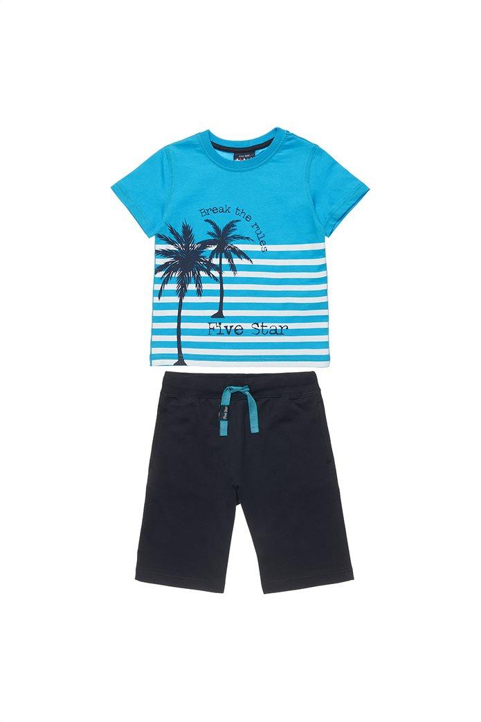 "Alouette παιδικό σετ ρούχων T-shirt με palm tree print και βερμούδα ""Five Star"" (6-14 ετών) Τυρκουάζ 0"