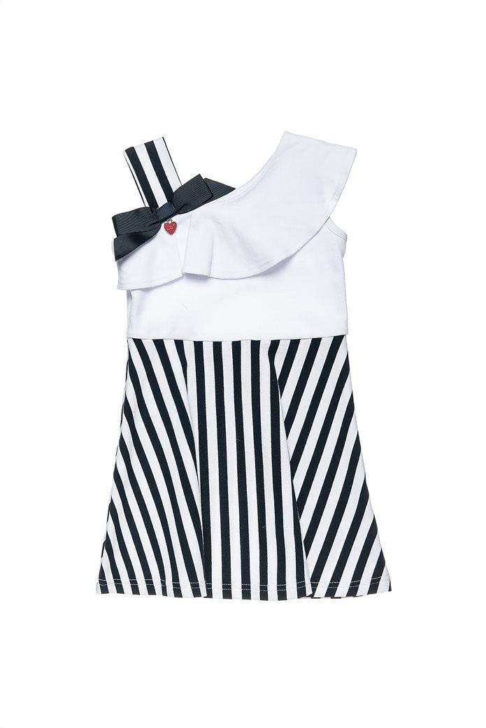 Alouette παιδικό φόρεμα ριγέ με ένα ώμο και βολάν (18 μηνών-5 ετών) 0