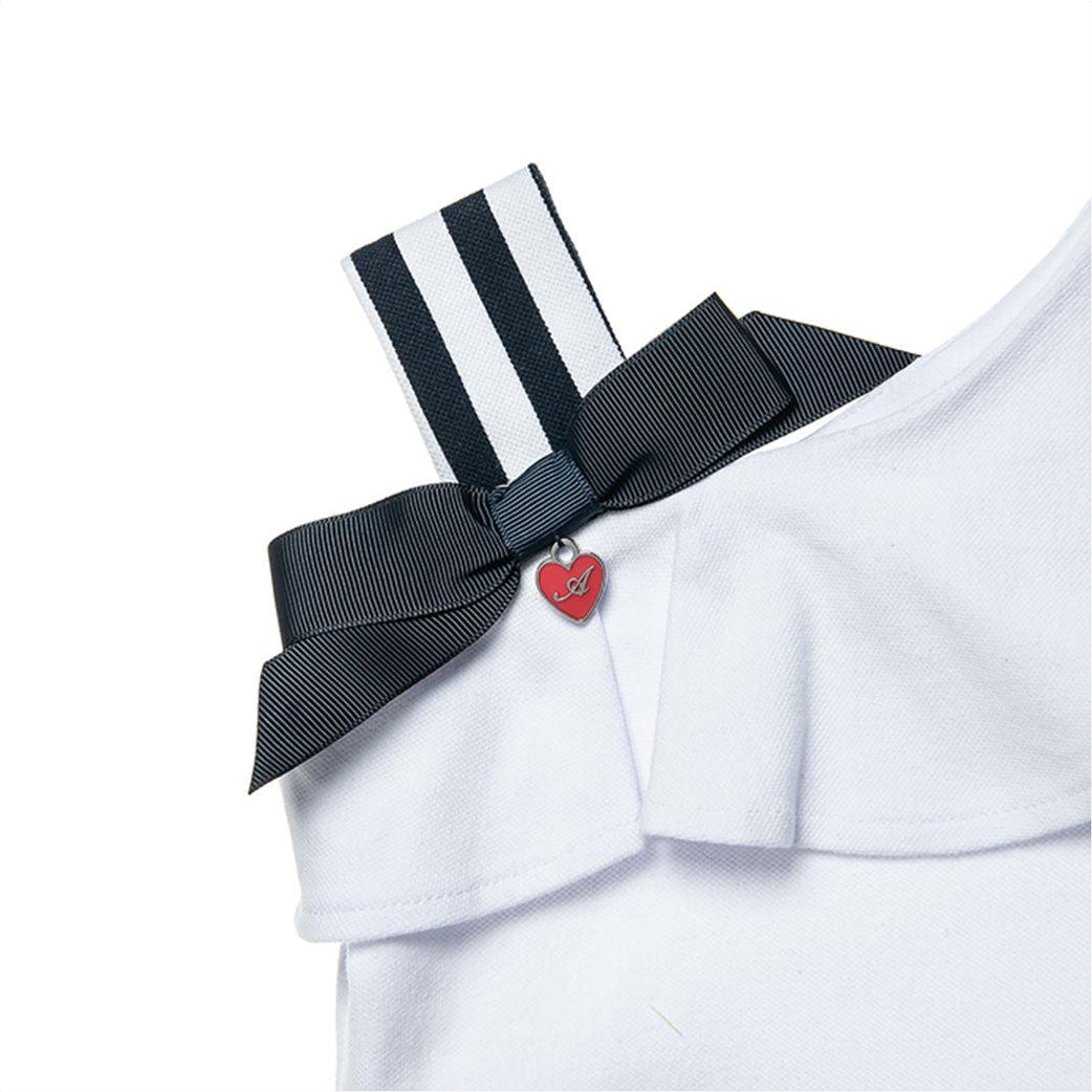 Alouette παιδικό φόρεμα ριγέ με ένα ώμο και βολάν (18 μηνών-5 ετών) 1