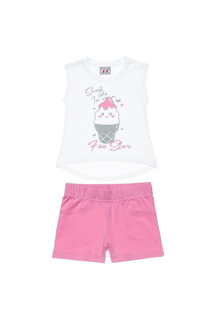 Alouette παιδικό σετ ρούχων μπλούζα αμάνικη με glitter print και σορτς ( 12 μηνών-5 ετών) 0