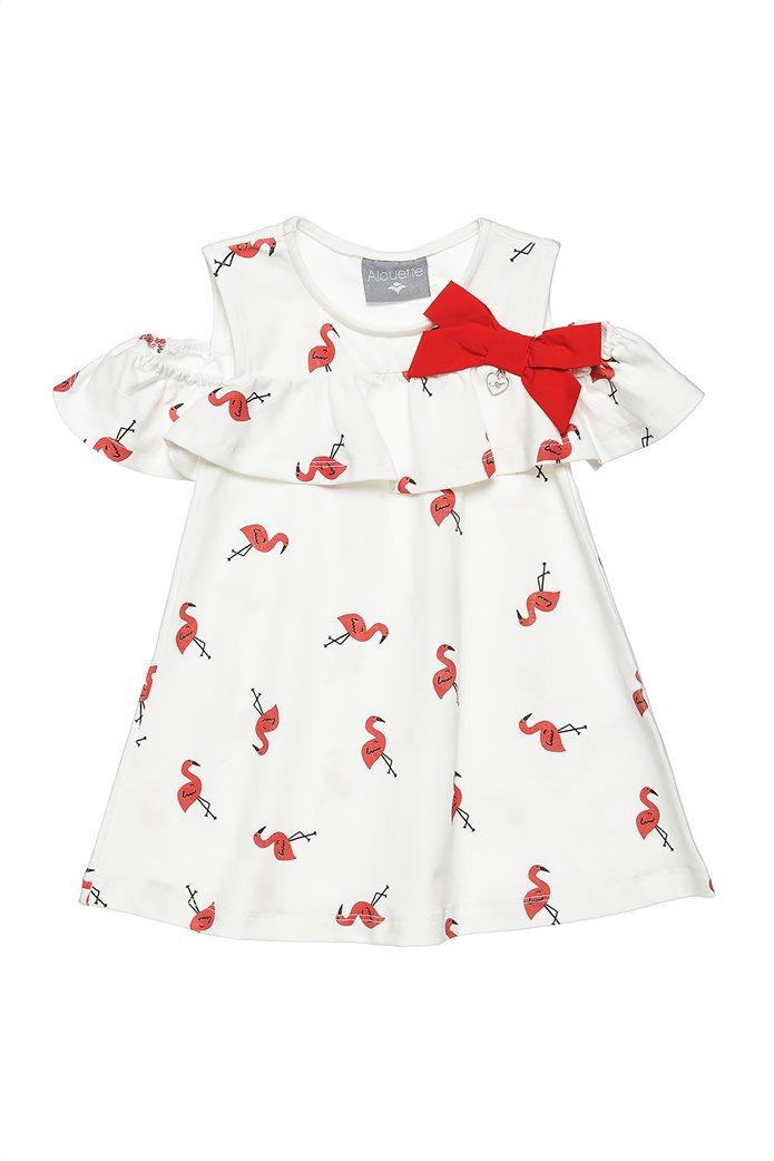 Alouette παιδικό φόρεμα με all over flamingo print και βολάν (6 μηνών-5 ετών) Λευκό 0