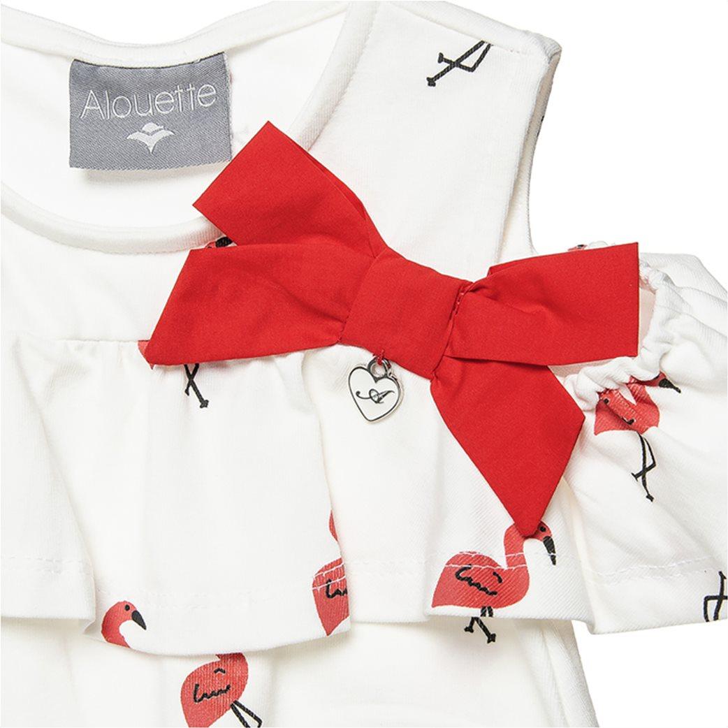 Alouette παιδικό φόρεμα με all over flamingo print και βολάν (6 μηνών-5 ετών) Λευκό 1