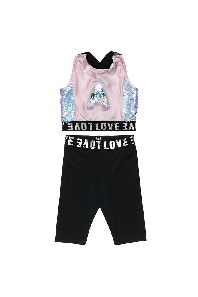 Alouette παιδικό σετ ρούχων cropped μπλούζα με παγιέτες και κολάν (6-16 ετών) 1