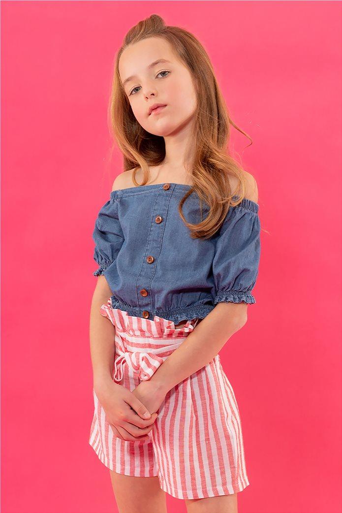 Alouette παιδική μπλούζα denim με διακοσμητικά κουμπιά (6-14 ετών) 0