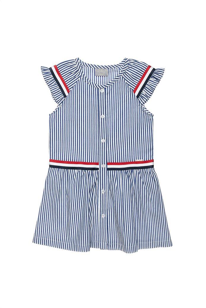 Alouette παιδικό ριγέ φόρεμα με τρέσα (6-16 ετών) Μπλε 0