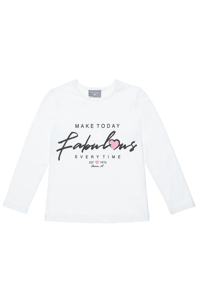 "Alouette παιδική μπλούζα με glitter και print ""Fabulous"" (6-16 ετών) Λευκό 0"