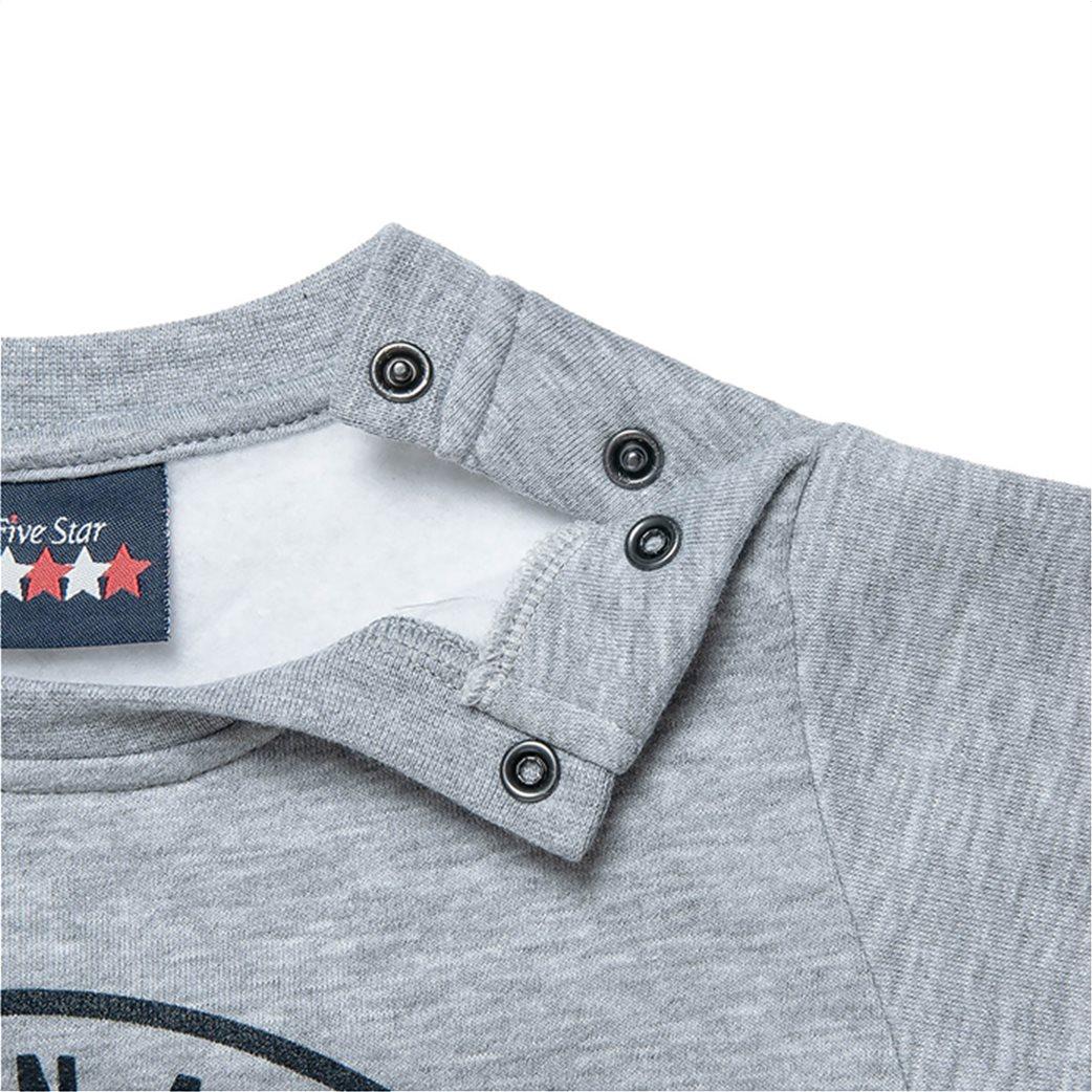 "Alouette βρεφικό σετ ρούχων μπλούζα φούτερ με ανάγλυφο print και παντελόνι ""Five Star"" (12 μηνών-5 ετών) Γκρι 2"