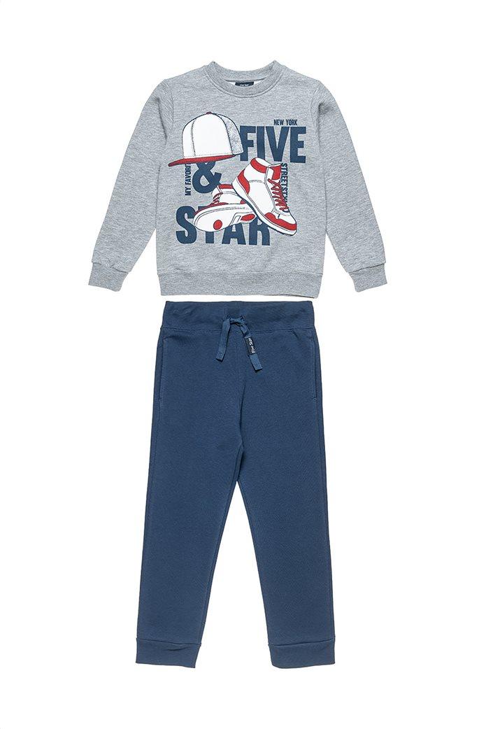 "Alouette παιδικό σετ ρούχων μπλούζα φούτερ με ανάγλυφο print και παντελόνι ""Five Star"" (6-16 ετών) Γκρι 0"