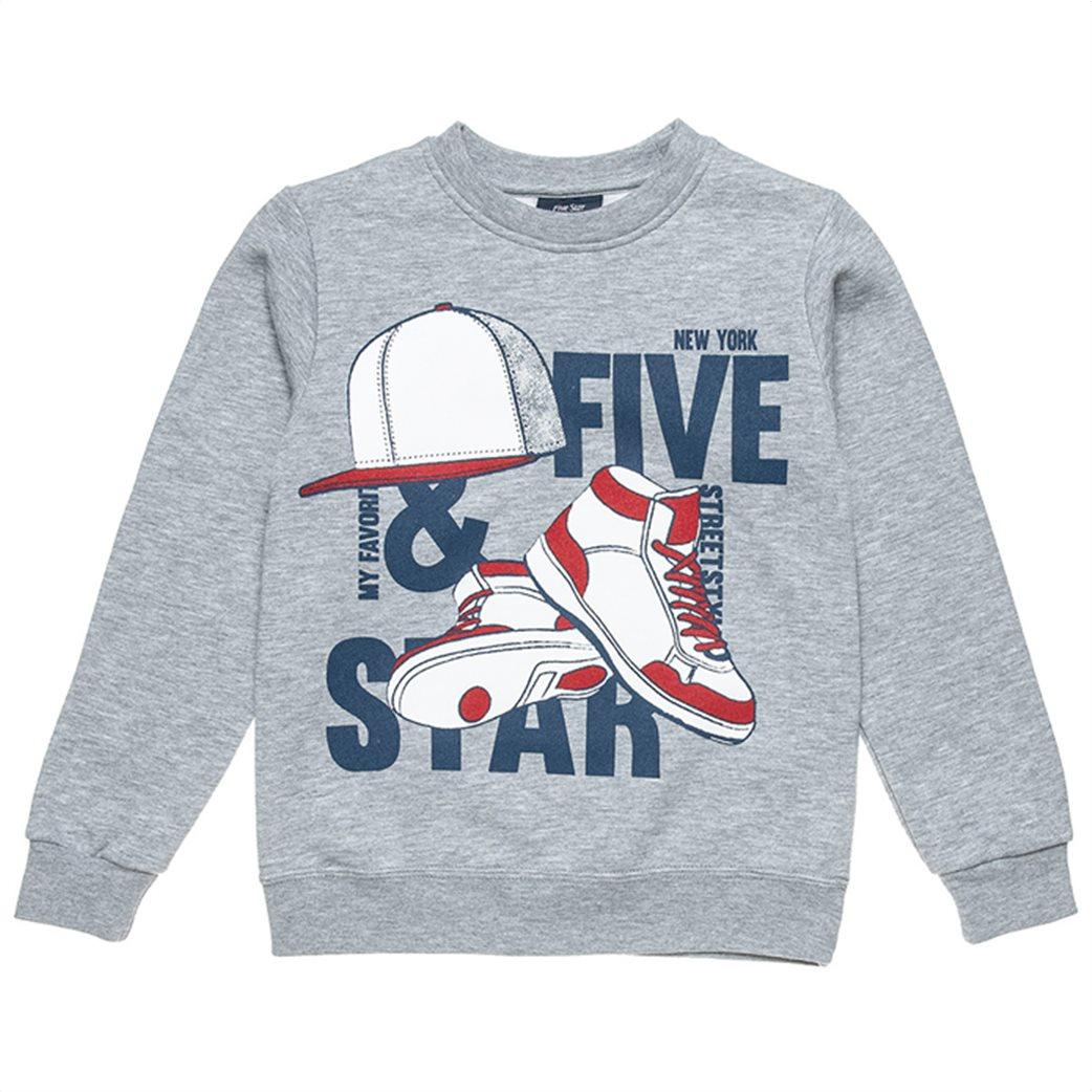 "Alouette παιδικό σετ ρούχων μπλούζα φούτερ με ανάγλυφο print και παντελόνι ""Five Star"" (6-16 ετών) Γκρι 1"