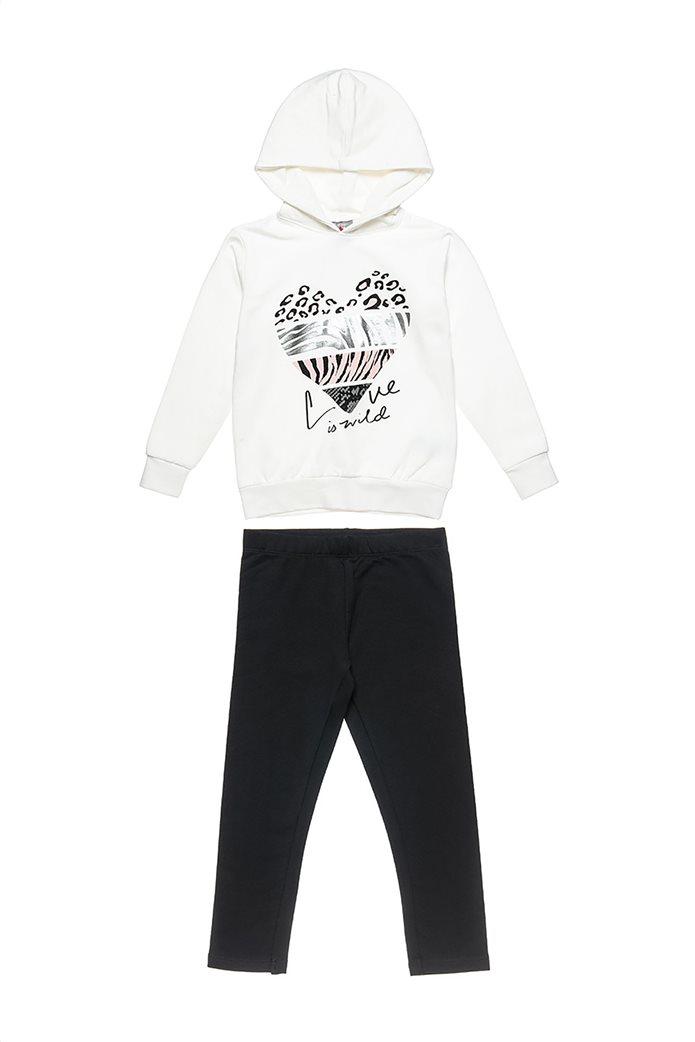 "Alouette παιδικό σετ φόρμας μπλούζα με foil print και παντελόνι ""Five Star "" (6-16 ετών) Εκρού 0"