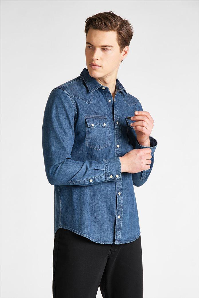 "Lee ανδρικό denim πουκάμισο με δύο flap τσέπες ""Rider"" Μπλε Σκούρο 1"