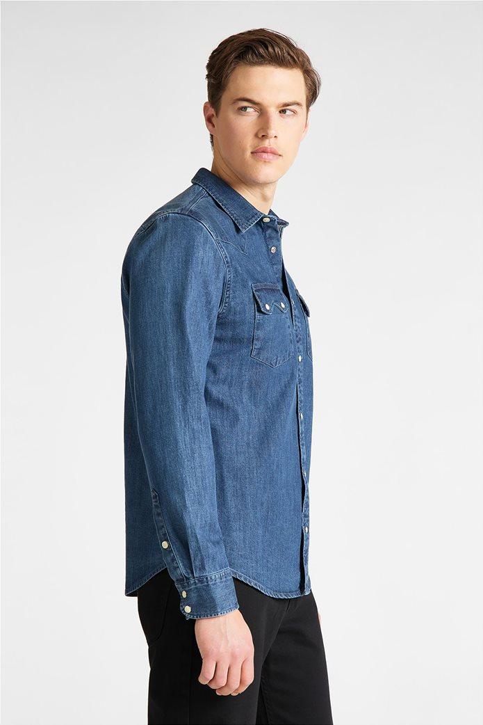 "Lee ανδρικό denim πουκάμισο με δύο flap τσέπες ""Rider"" Μπλε Σκούρο 3"
