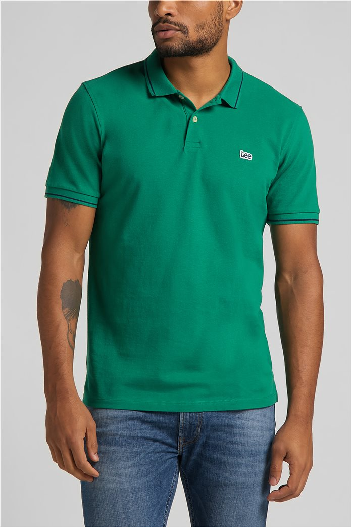 Lee ανδρική πόλο μπλούζα πικέ με κεντημένο λογότυπο Πράσινο Σκούρο  0