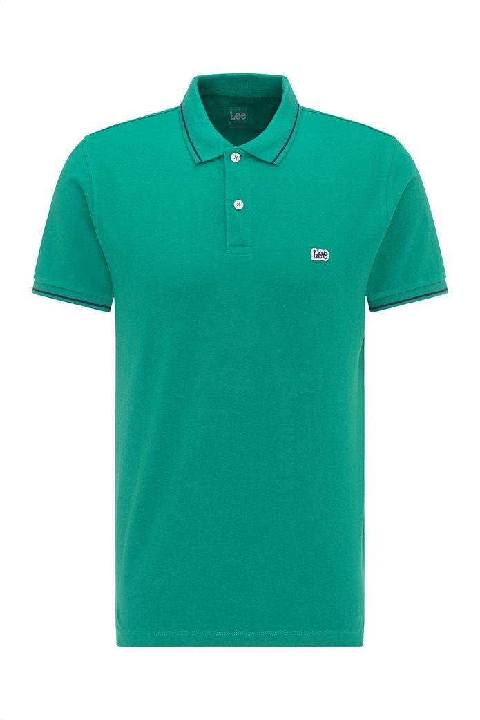 Lee ανδρική πόλο μπλούζα πικέ με κεντημένο λογότυπο Πράσινο Σκούρο  6