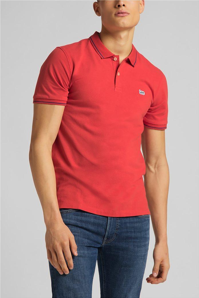 Lee ανδρική πόλο μπλούζα πικέ με κεντημένο λογότυπο Κόκκινο 0