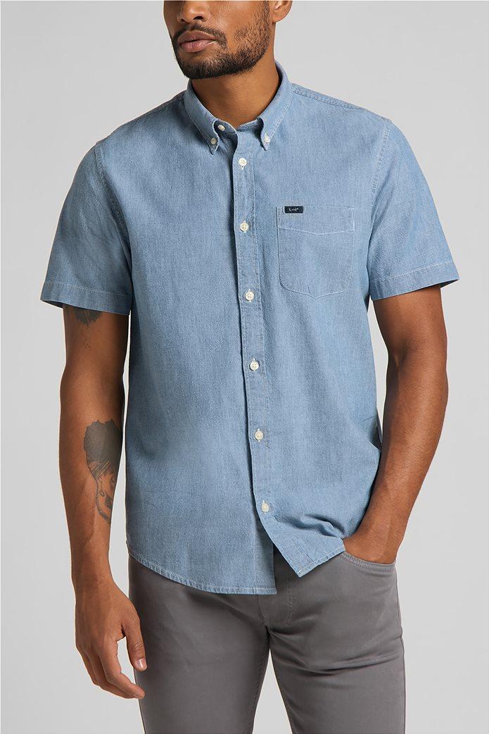 Lee ανδρικό πουκάμισο μονόχρωμο με απλικέ τσέπη στο στήθος 0