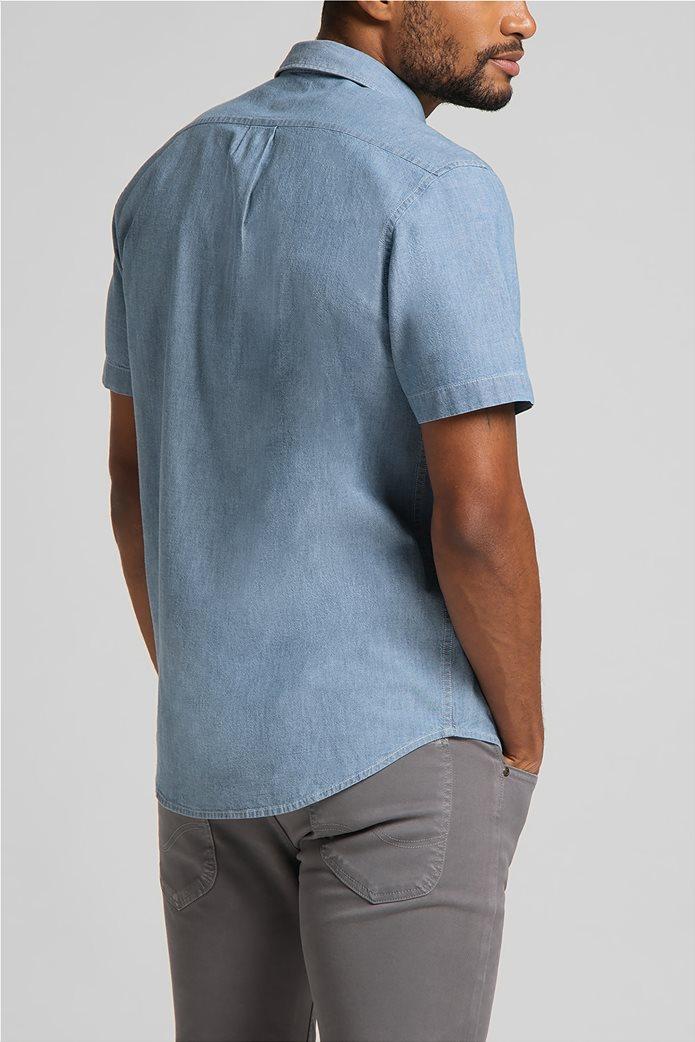 Lee ανδρικό πουκάμισο μονόχρωμο με απλικέ τσέπη στο στήθος 1