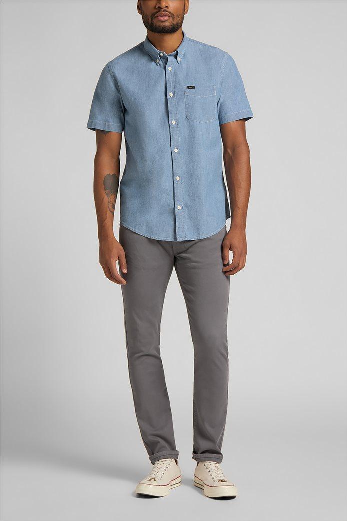 Lee ανδρικό πουκάμισο μονόχρωμο με απλικέ τσέπη στο στήθος 2
