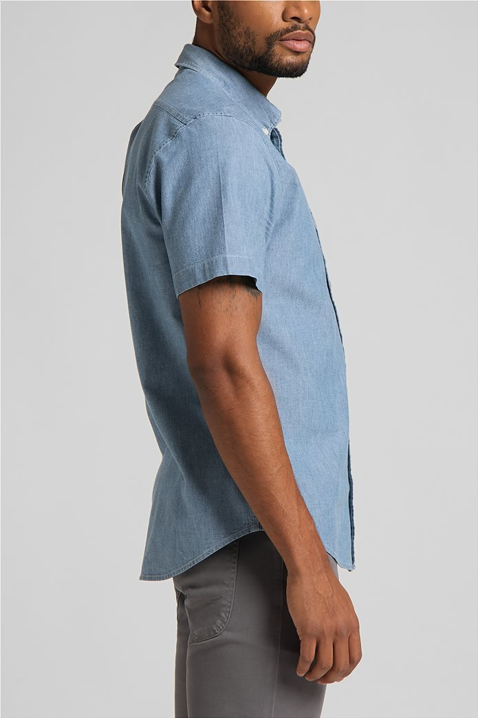 Lee ανδρικό πουκάμισο μονόχρωμο με απλικέ τσέπη στο στήθος 3