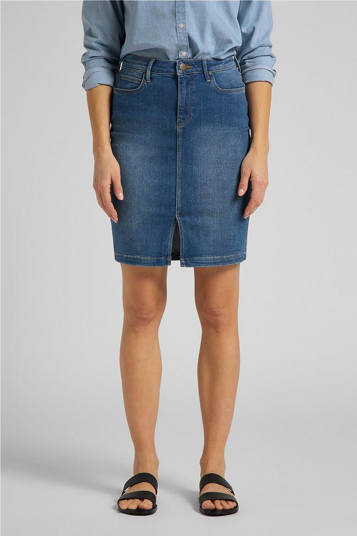 Lee γυναικεία mini φούστα denim με σκίσιμο στο τελείωμα 0